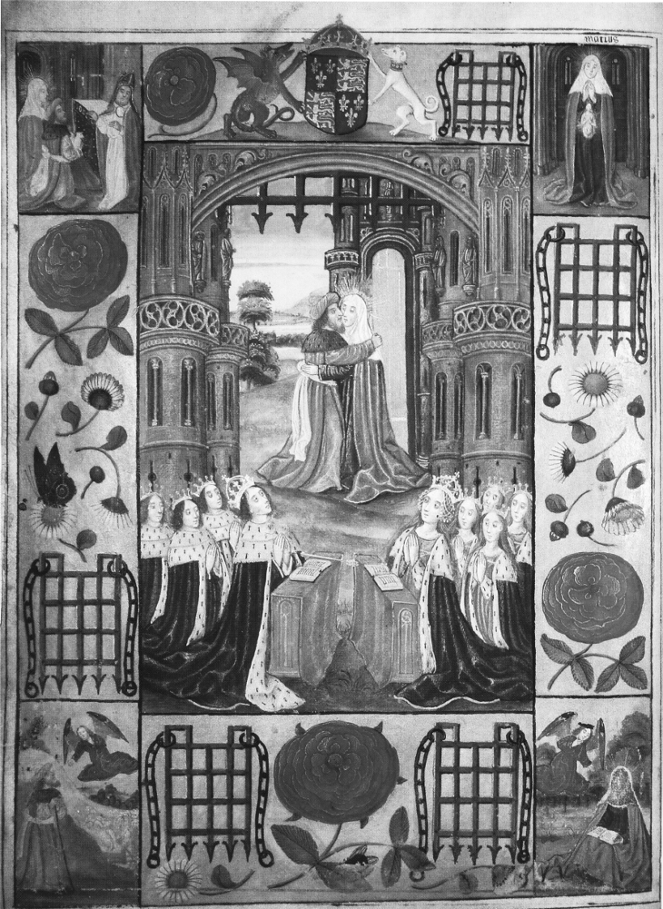 The family of King Henry VII at prayer, beneath an image of the Virgin Mary's parents © The History Press