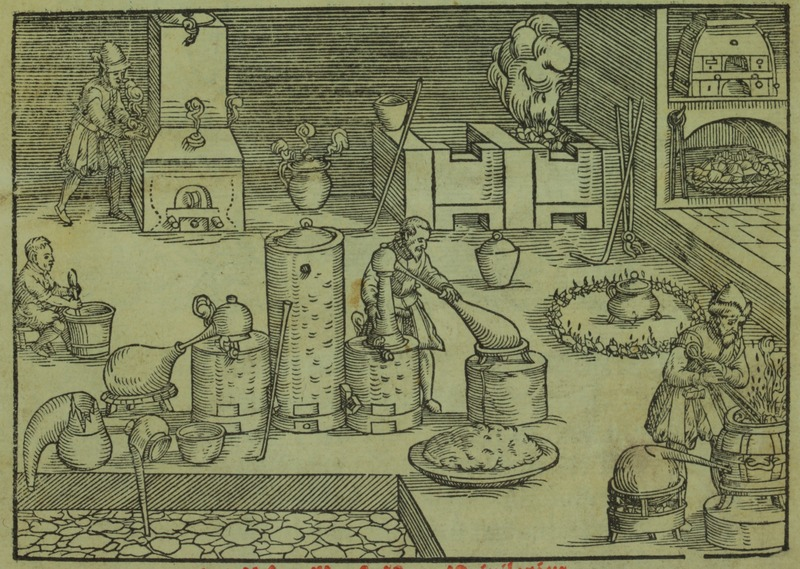 Scientific apparatus in the alchemist's workshop, 1580, Chemical Heritage Foundation