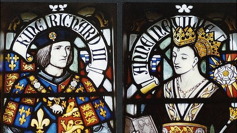 Anne Neville and Richard III - Stained glass window at Cardiff Castle