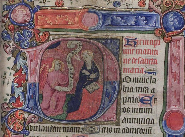The Annunciation from the Book of Hours of Richard III ©Lambeth Palace Library
