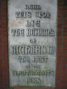 Plaque on Bow Bridge in Leicester, after the local traditioan that Richard III's remains were thrown in the river Soar.