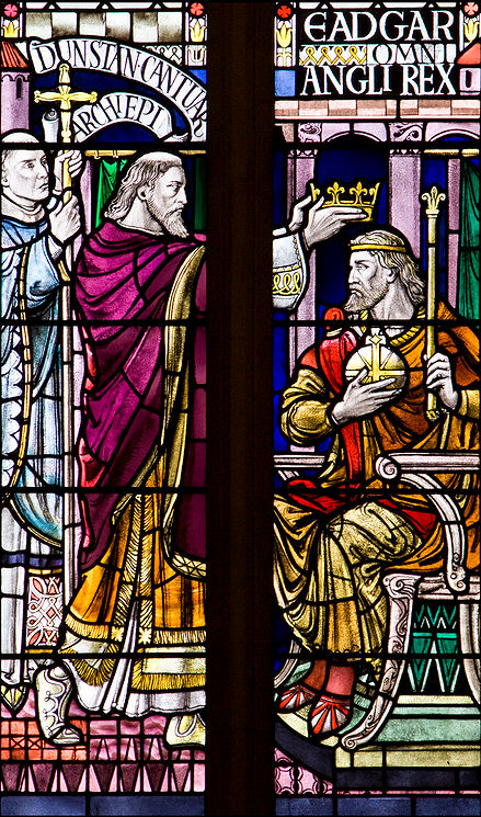 The coronation of King Edgar at Bath Abbey. His Queen Elfrida shared his coronation.