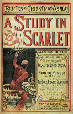 The first Sherlock Holmes story, A Study in Scarlet, appeared in the Beeton's Christmas Annual in 1887