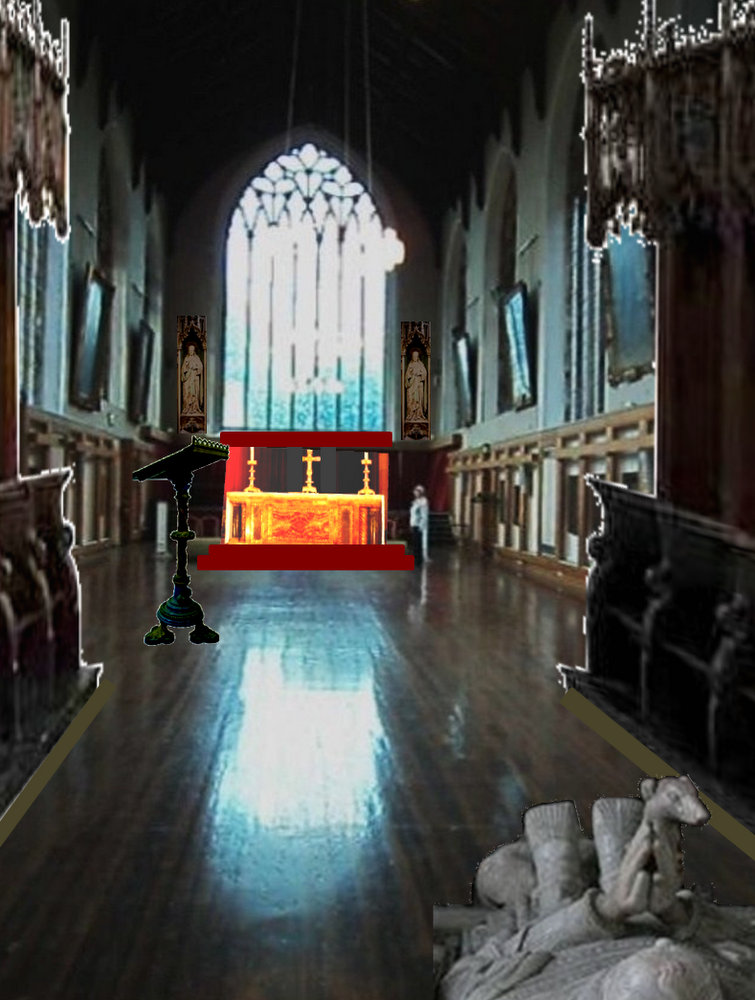 John's impression of what the interior of the Leicester Greyfriars choir might have looked like with Richard III's 1494/5 tomb in place. This image is based on the surviving choir of the Norwich Blackfriars - the best preserved medieval friary church building still surviving in England. But the Leicester Greyfriars choir had medieval floor tiles, not wooden flooring.
