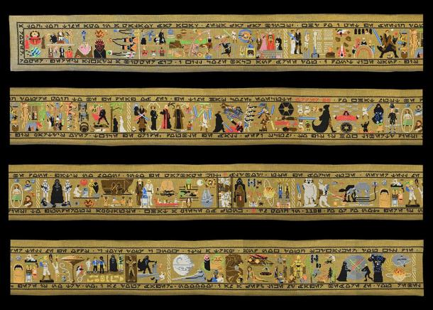 Hand-stitched 30 foot long tapestry depicts the Star Wars Saga
