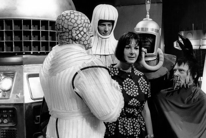 Verity Lambert on the Doctor Who set