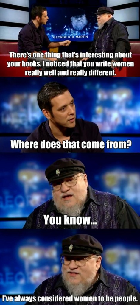 George R.R. Martin being interviewed by George Strombolopolous