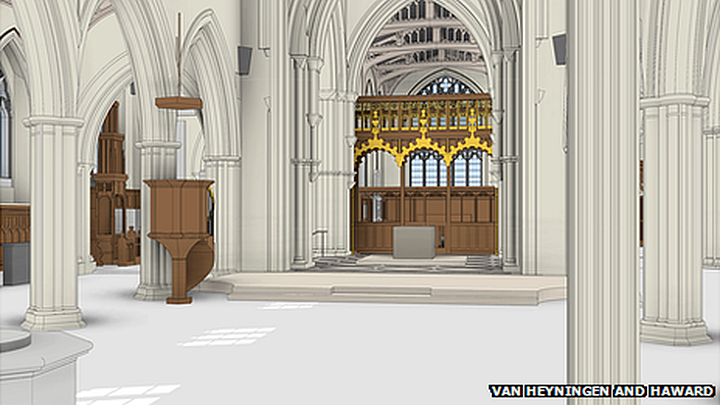 "the tomb would be positioned in a special area defined by wooden screens, with the tomb facing the Cathedral's ""magnificent east window depicting Christ the King coming in victory at the last"""