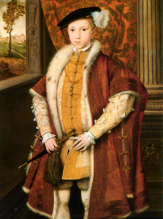 """At thirteen Edward was growing up and like his father dressed magnificently, favouring reds, whites and violets embroidered with pearls.14 This helped disguise the fact he was small for his age, slightly built and, like Richard III, he had one shoulder distinctly higher than the other. "" - Leanda de Lisle. ""Tudor"""