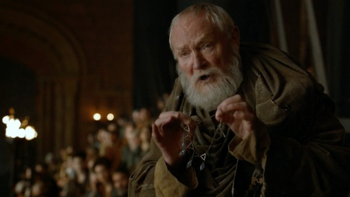 Maester Pycelle with the necklace recovered from Ser Dontos' corpse