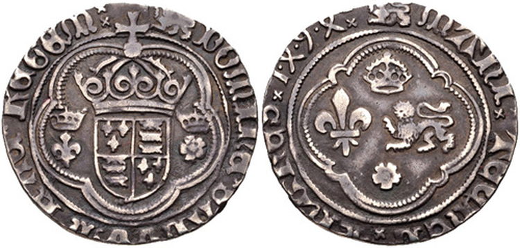 Perkin Warbeck's Groat: A silver coin supposed to have been struck by the Duchess of Burgundy for distribution among Warbeck's Followers