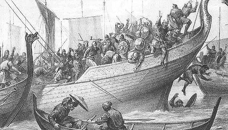 Detail from Peter Nicolai Arbo's Slaget ved Svoldre