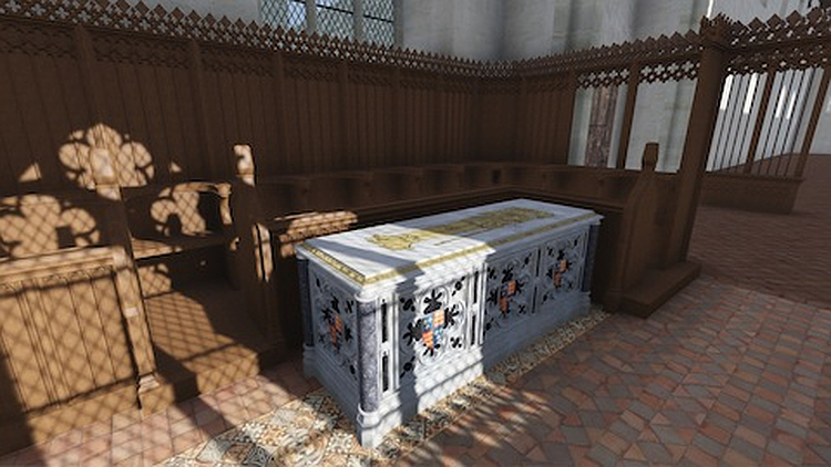 A CGI reconstruction of Richard III's original tomb by De Monfort University