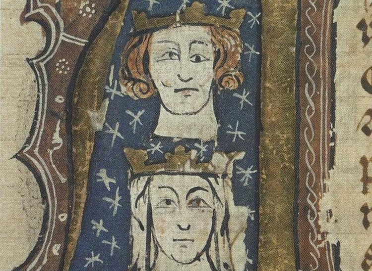 Early fourteenth-century illumination depicting Edward and Eleanor