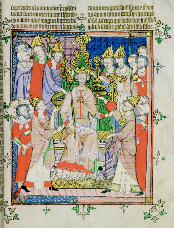 Edward's coronation, from a manuscript of the early fourteenth century. © Master and Fellows of Corpus Christi College, Cambridge