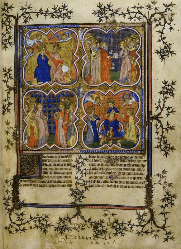 Miniature of the Coronation of the Virgin, with male and female saints, and the Last Judgement.