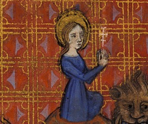 Detail of a miniature of Margaret emerging from the dragon