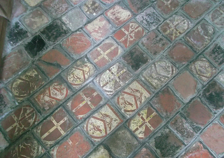 Floor tiles showing the arms of Rhys ap Thomas in St Mary's church, Carew. © Patricia Taylor