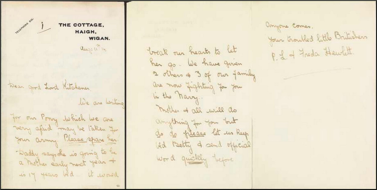Freda Hewlett's letter to Lord Kitchener