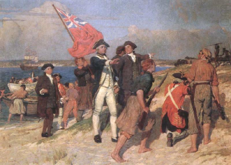 landing of captain cook at botany bay,1770, E.Phillips Fox