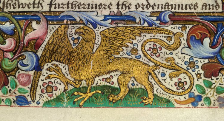 Detail of the griffin of Salisbury from De re militari (the Book of Vegecye of Dedes of Knyghthode). This book is thought to be intended for Edward of Middleham
