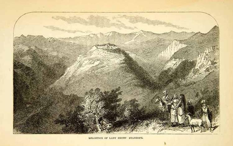1858 Wood Engraving Art Dahr El Sitt Monastery Joun Lebanon Middle East Chouf