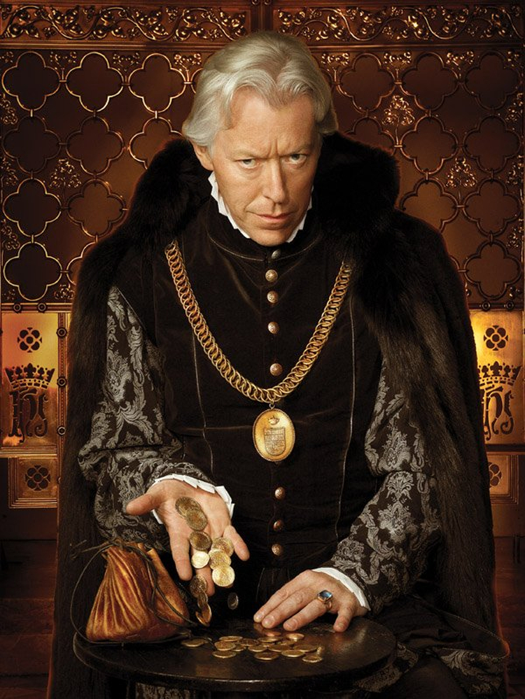 Nick Dunning in a ludicrous promotional shot for Season 2 of The Tudors, depicting Thomas Boleyn as evil and money-hungry