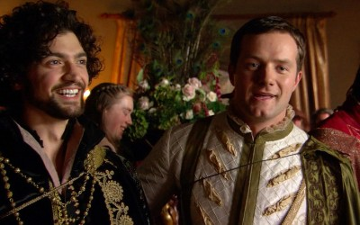 George Boleyn and his supposed lover Mark Smeaton as depicted in The Tudors