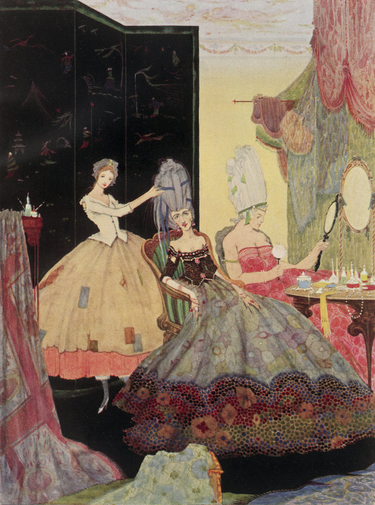 Cinderella helps her step-sisters prepare for the ball, by Harry Clarke
