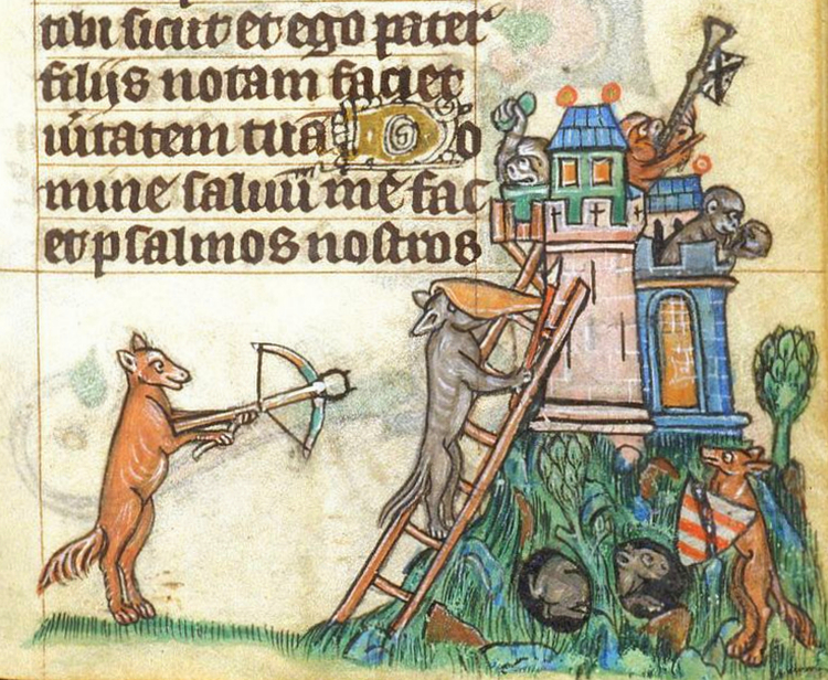 Monkey-castle-under-siege14th-century-illumination
