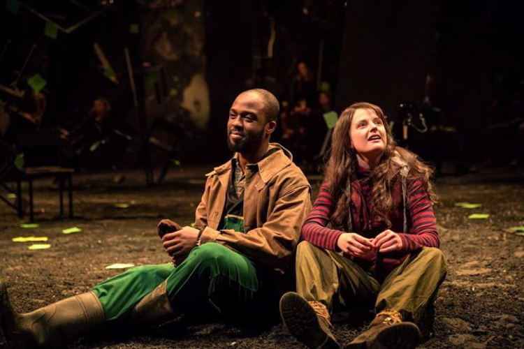 Ken Nwosu as Silvius and Gemma Lawrence as Phoebe in NTL's As You Like It