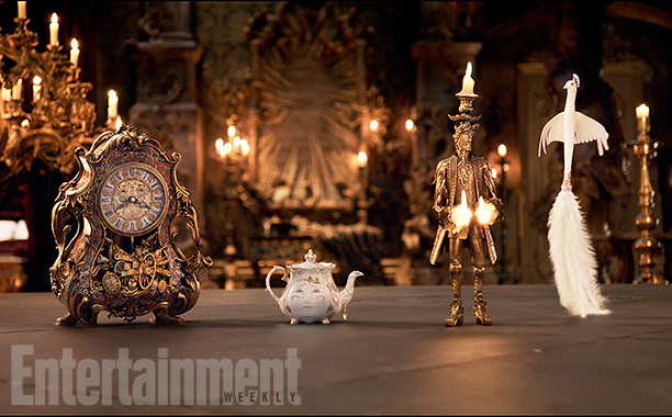Cogsworth (Ian McKellen), Mrs. Potts (Emma Thompson), Lumière (Ewan McGregor), and Plumette (Gugu Mbatha-Raw)