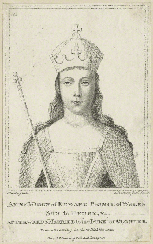 Anne Neville, Queen of England by Edward Harding Jr Anne Neville, Queen of England, by Edward Harding Jr, published by E. & S. Harding, after Silvester Harding, published 29 January 1793 - NPG D23754 - © National Portrait Gallery, London © National Portrait Gallery, London