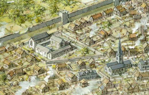 Artist Impression of South East Leicester during 15th Century © Leicester Council