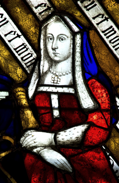 Elizabeth of York stained glass depiction, St Nicholas Chruch, Stanford-Upon-Avon