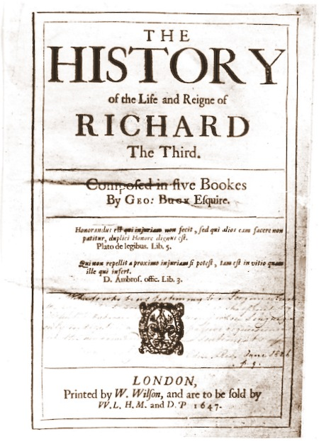 George Buck's History of King Richard III, published in 1646.