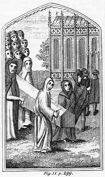 A funeral procession led by friars of Greyfriars. This 18th-century engraving may be specific to Leicester. Source: Wikimedia Commons