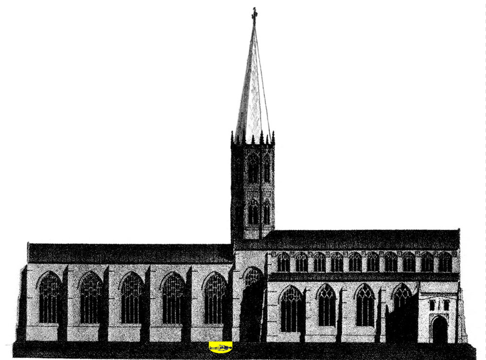 John Ashdown-Hill's proposed reconstruction of the Leicester Greyfriars Church, seen from the north side (St Martin's Street). The choir is the part of the church to the east of the central tower. Richard III's grave site, beneath the western end of the choir, is marked in yellow.