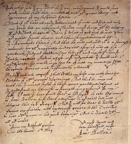A letter allegedly from Anne Boleyn to Henry VIII during her imprisonment in the tower