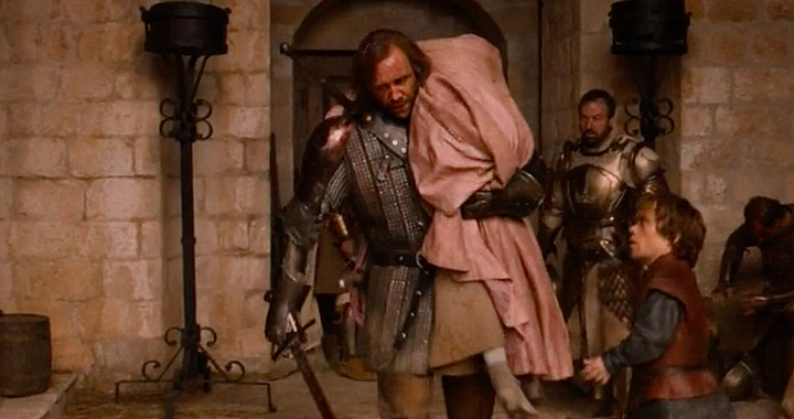 The Hound rescues Sansa from rape during a riot at King's Landing