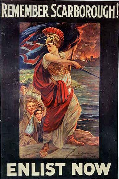 British propaganda poster following the raid on Scarborough, Hartlepool and Whitby