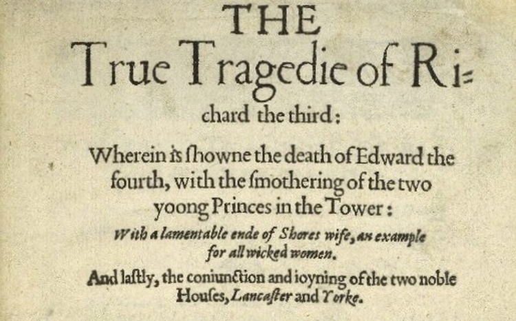 Detail from the 1594 quarto of The True Tragedy of Richard II