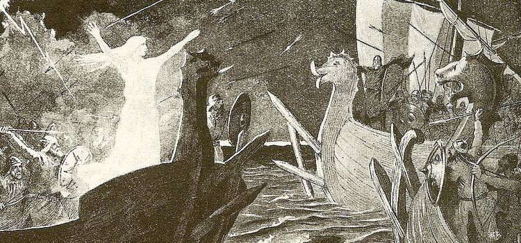 An illustration depicting Þorgerðr Hǫlgabrúðr facing the fleet of the Jomsvikings (1895) by Jenny Nyström