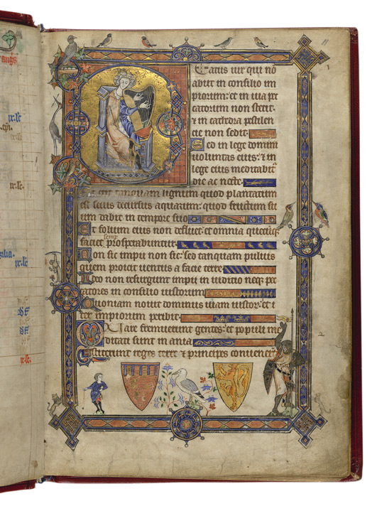 A page from the Alphonso Psalter which was begun for Edward and Eleanor's son