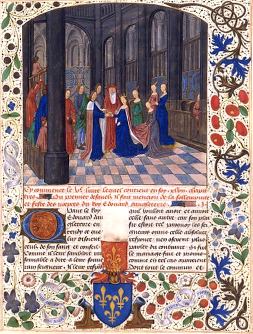 Illuminattion of Edward and Elizabeth's marriage from Jean de Wavrin Chroniques D'angleterre