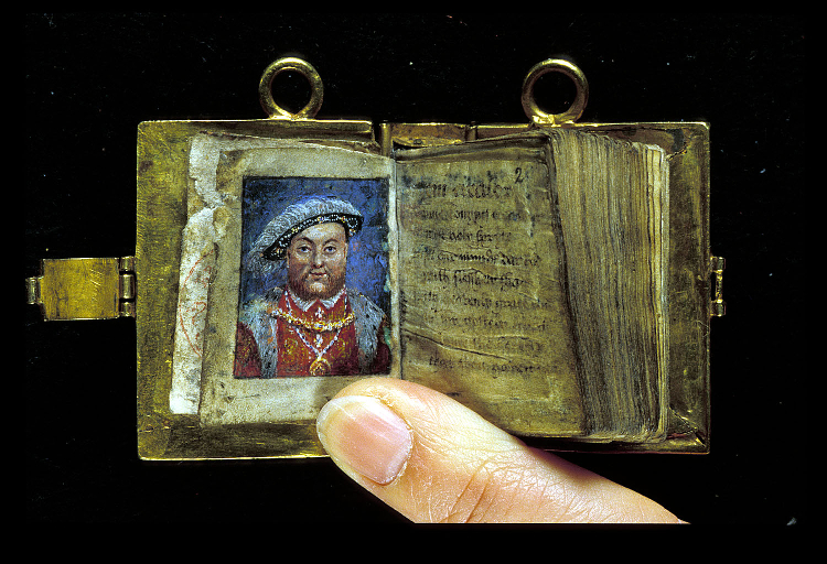 Miniature with the portrait of King Henry VIII, and the beginning of John Croke's English translation of Psalms.