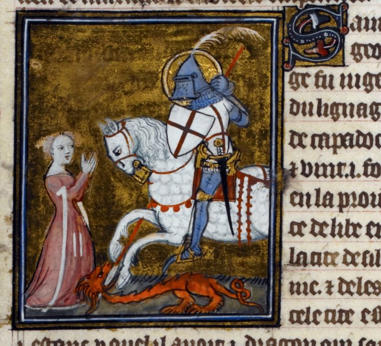 Detail of a miniature of George killing the dragon, with the princess kneeling