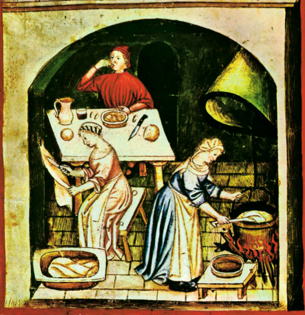 Women in the kitchen. (Tacuinum Sanitatis, Vienna