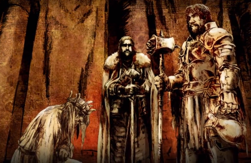 Balon kneels to Robert Baratheon and Eddard Stark after his rebellion fails