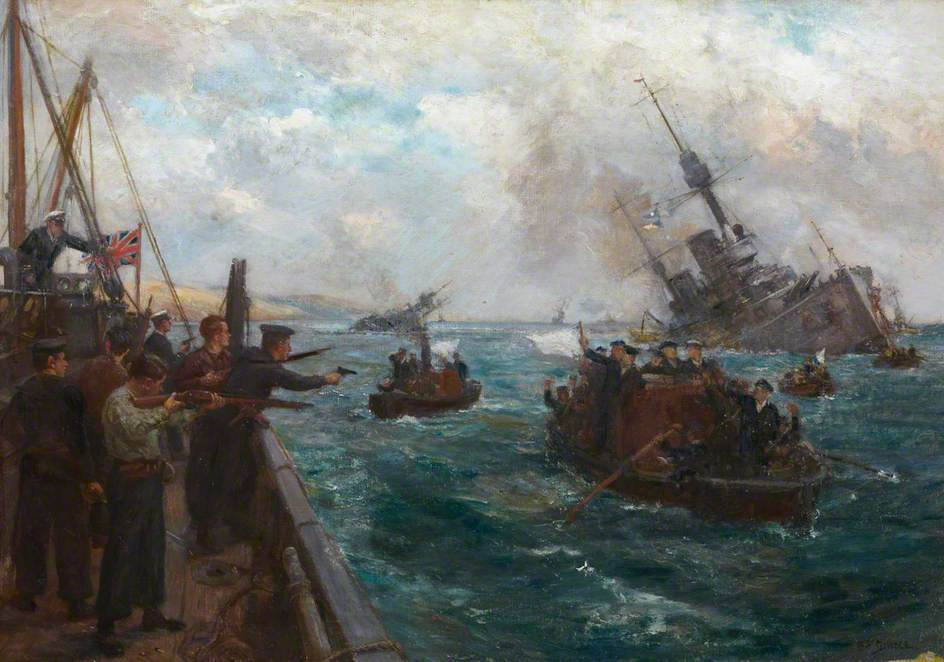 Sinking of the German Fleet – Scapa Flow on Saturday 21 June 1919 by Bernard Finnigan Gribble ©Nick R. Gribble/National Museums Scotland